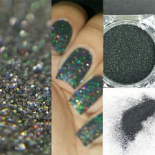 Holographic Holo Laser Effect Powder Glitter Black Nail Art Glitter Manicure hs