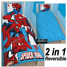 MARVEL SPIDERMAN PARKER SINGLE DUVET COVER SET REVERSIBLE BEDDING BOYS NEW