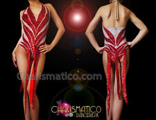 CHARISMATICO Halter Style Metallic Red and Iridescent White Sequin Diva Dress