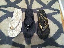 Pick Color/Size Michael Kors Signature Charm Flip Flop Sandal black gold vanilla