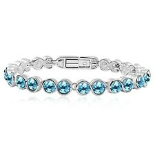 18K White Gold Plated Genuine Swarovski Crystals Fashion Ocean Blue Bracelet