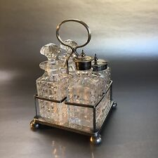 Antique Cut Crystal & Silver Plate Condiment Serving Set Holder Cruets Salt Jar