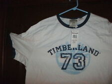 Timberland t-shirt short sleeve white T 73 NAVY BLUE RINGER size small NWT