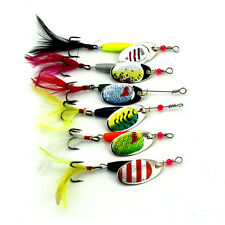 Fashion Fishing Lure Hard Set 6Pcs Spinner Metal With Feather Artificial Bait