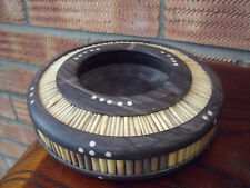 Ebony Wood & Porcupine Quill Ashtray inset with Bone accents c1940s/50s