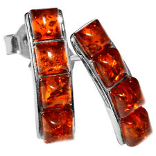 2.15g Authentic Baltic Amber 925 Sterling Silver Earrings Jewelry A5229