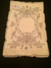 Amazing! Unused Vintage 6 PC Hand Embroidery Antique Peony Cotton Placemat