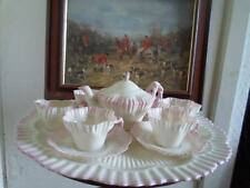 Belleek Second Black Mark Pink Hexagon Tea Set & Tray c.1891-1926