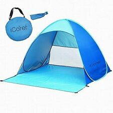 iCorer Automatic Pop Up Instant Portable Outdoors Quick Cabana Beach Tent Blue