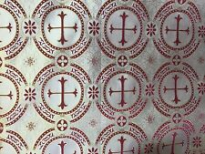Metallic Dark Red and Gold Crosses  Brocade
