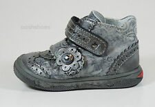 Bellamy Girls Shoes UK 9 EU 27 US 9.5 Pewter Leather Velcro Andy £55.00