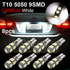 8x White 9-SMD T10 LED Canbus Error Free Car Wedge Bulb Tail Light Reverse Lamps