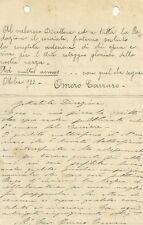 Lettera Autografo Compositore Musica Omero Carraro Complimenti Rivista a Firenze