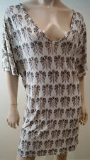 FAITH CONNEXION White & Grey Geometric Print Short Sleeve Mini Dress Long Top S