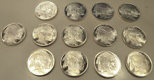 Lot of 13. Buffalo/Indian 1/2 Oz. Pure Silver Rounds. Highland Mint. Gem BU