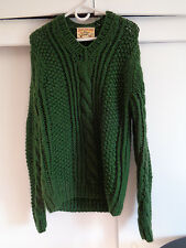 LUCKY BRAND Woolens Heavy Cable Knit Sweater 100% Wool Green size SMALL