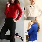 Hot Fashion Women Long Sleeve Chiffon Loose Tops Button Down Shirt Casual Blouse