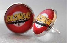 """THE BIG BANG THEORY """"BAZINGA"""" Glass Domed Stud 1/2"""" EARRINGS"""