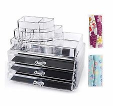 FREE 2 Lipstick Cases + Clear Acrylic Cosmetics 3 Drawers & 8 Compartments