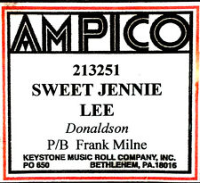 AMPICO (NEW) Recut SWEET JENNIE LEE Frank Milne 213251 Player Piano Roll