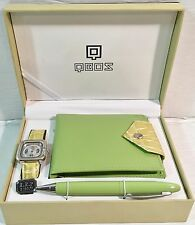 QBOS Ladies Green Watch w/Wallet & Pen QB1286