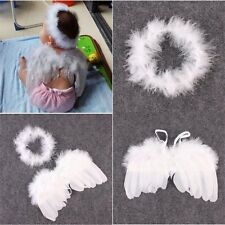 Cute Baby Angel Halo Ring Infant Newborn Kid Feather Wings Fairy Props Costume
