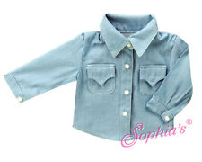 "Denim Chambray Shirt With Buttons for 18""American Girl Dolls - Great for Boys!"