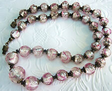 VINTAGE 40'S FANCY BAROQUE ART GLASS BEAD  NECKLACE ROSE SWIRLS Gorgeous
