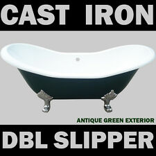 BRAND NEW ANTIQUE GREEN DOUBLE SLIPPER CAST IRON BATH TUB