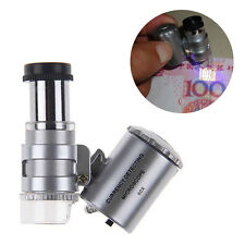 60x Microscope Glass Mini Pocket  LED UV Jewellers Loupe Jewellery Magnifier KN