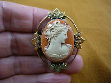 CS11-23) LADY with HAIRBOW small orange + white CAMEO Pin pendant brocch Jewelry