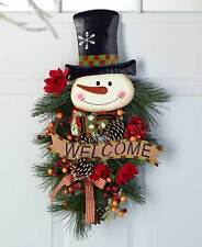 "SNOWMAN 24"" Festive Christmas Holiday Swag Door Wall Bathroom Kitchen Decoration"