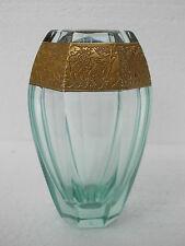 Vase cristal Moser couleur beryl et or