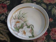 Hand painted glass bowl white lily lilies large bowl HP chic custom garden