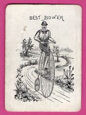 1 Single Swap Playing Card JOKER #G55 BEST BOWER MAN ON BICYCLE ANTIQUE WIDE OLD