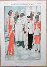 FABIANO Original 1931 French Vintage Print ART DECO GIRL MEETS THE SERVANTS