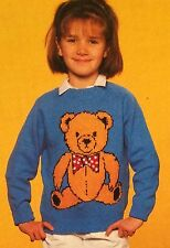 Childrens & Adults Smart Teddy Jumper Knitting Pattern