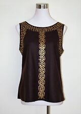 NWT TORY BURCH TRB BROWN WOOL BLEND BLOUSE/ WITH GOLD DISC DETAIL 12