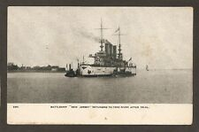 POSTCARD:  U.S.S. NEW JERSEY - US NAVY PRE-WW-1 BATTLESHIP - AFTER TRIAL RUN