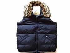 New Ralph Lauren Denim and Supply Leopard Trim Black Puffer Down Winter Vest S