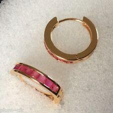 Y22 Gold hoop earrings, 9 inset rubies, 20mm x 4mm wide', 14k gf, Plum UK BOXED