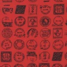 1 Metre Length Red and Black Postmarks Print Cotton Poplin 100% cotton Fabric