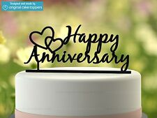 """Happy Anniversary"" - Black - Wedding Anniversary - Original Cake Topper"