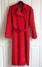 Burberry Red Trench Coat Women's Sz 10 L Long Nova Check Plaid Wool Lined