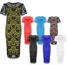 Ladies Womens Plus Size Lace Net Lined Party Floral Evening Midi Dress 14-28