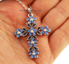 Crystal Flowers Cross Necklace - Christian Jewelry Gift