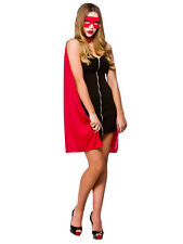 Red Superhero Cape Ladies Fancy Dress Up Riding Hood Womens Halloween Accessory