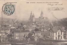 EVREUX 2428 panorama de la ville et de la cathédrale timbrée 1904