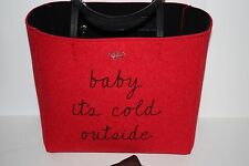NEW RED KATE SPADE POST DRIVE BABY IT'S COLD OUTSIDE HALLIE OPEN TOTE LARGE HTF