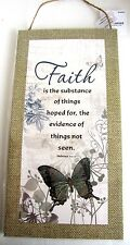 Inspirational Faith Butterfly Canvas Style Wall Sign Home Office Patio Decor